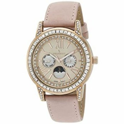 Peugeot Women Crystal Bezel Dress Watch, Day Date Moon Phase Function & Mother of Peal Dial with Roman Numeral, Pink Suede Strap