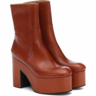 ドリス ヴァン ノッテン Dries Van Noten レディース ブーツ ショートブーツ シューズ・靴 Leather platform ankle boots Tan