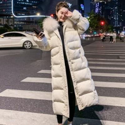 ダウンジャケット フード付き ロングコート 防寒服 レディース ダウンコート 韓国風 厚手上着 通勤 通学 アウター 中綿コート 暖かい お