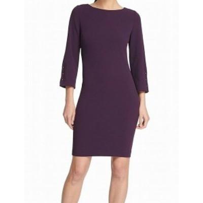 DKNY ダナキャランニューヨーク ファッション ドレス DKNY Womens Dress Purple Size 8 Shift Bar Hardware Crepe Crew