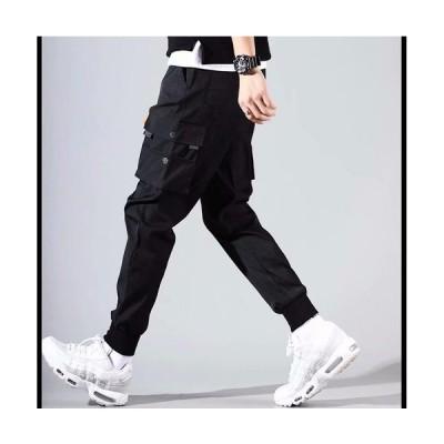 ブラック L メンズ ストリート系 カーゴ ジョガーパンツ ヒップホップ ワークパンツ 黒ズボン