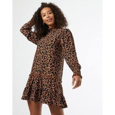 ミスセルフフリッジ レディース ワンピース トップス Miss Selfridge high neck smock dress in tan Tan