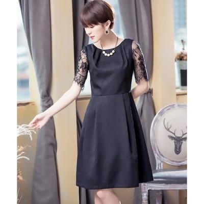 ドレス 透け感レースの上品ドレス