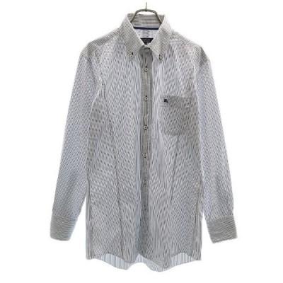 バーバリーブラックレーベル 三陽商会 ストライプ 長袖 ボタンダウンシャツ 40 白x紺 BURBERRY BLACK LABEL BD メンズ 古着 210330 メール便可