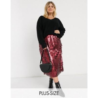 ロストインク Lost Ink Plus レディース ひざ丈スカート スカート high waist midi skirt in all over sequin