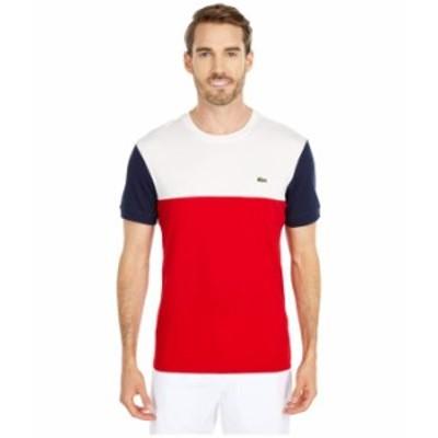 """ラコステ メンズ シャツ トップス Short Sleeve Striped """"Color-Block"""" T-Shirt Red/Flour/Navy"""