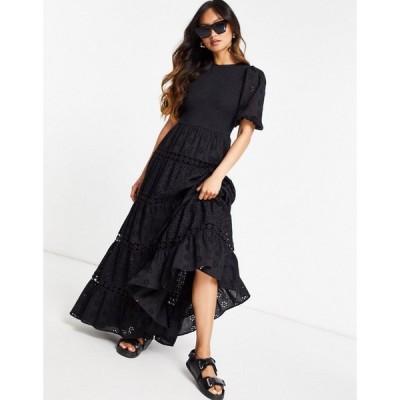 エイソス ASOS DESIGN レディース ワンピース Aライン ワンピース・ドレス shirred mixed broderie tiered maxi dress with lace inserts in black ブラック