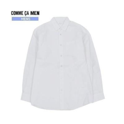 ■SALE76%OFF【訳あり商品】【COMME CA MEN】コムサメン 日本製 コットンブロード カジュアルシャツ(長袖) 白『20/5/4』200520(送料無料)