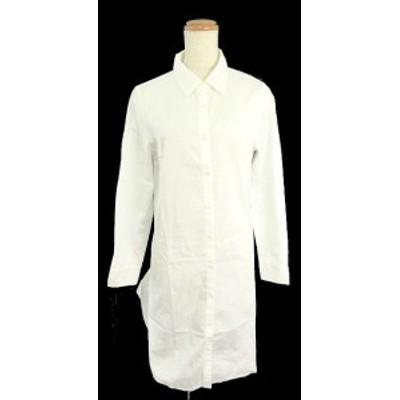 アプワイザーリッシェ Apuweiser-riche ワンピース シャツ ひざ丈 ボタンアップ 長袖 1 白 ホワイト レディース ベクトル【中古】