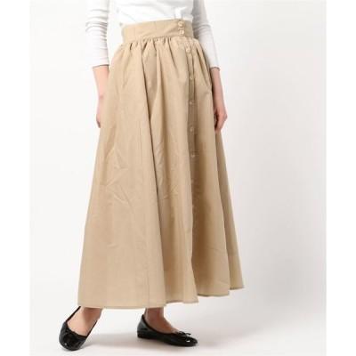 スカート ブロードフロントボタンギャザーマキシスカート