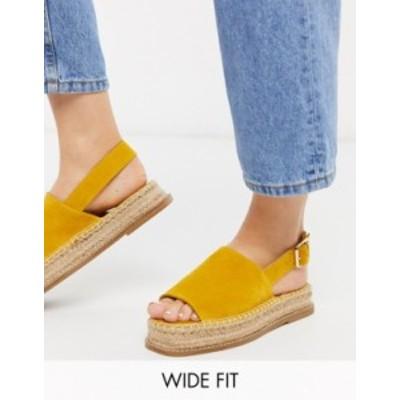 エイソス レディース パンプス シューズ ASOS DESIGN Wide Fit Hannah suede flatform espadrilles in yellow Yellow