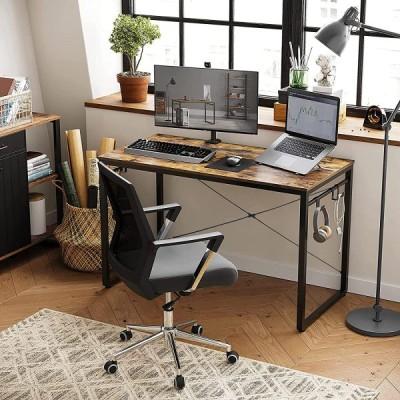 Timechee PCデスク 机 パソコンデスク シンプルデスク フック*8付き 幅100cm 奥行55cm 高さ75cm 耐荷重60kg コンパクト