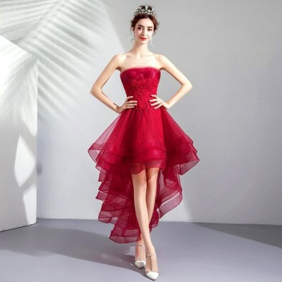 カラードレス 結婚式 花嫁 パーティードレス ミニ ワンピース 二次会 ドレス 演奏会 発表会 大きいサイズ 安い レッド ウェディングドレス 演出 送料無料