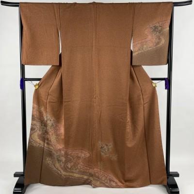 訪問着 美品 秀品 流水 草花 金彩 ぼかし 赤茶 袷 身丈165.5cm 裄丈66.5cm M 正絹 中古
