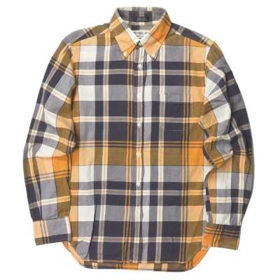 インディビジュアライズドシャツ INDIVIDUALIZED SHIRTS x BEAUTY&YOUTH 別注 アメリカ製 ピンオックス チェックBDシャツ 151/2-32 オレンジ/パープル