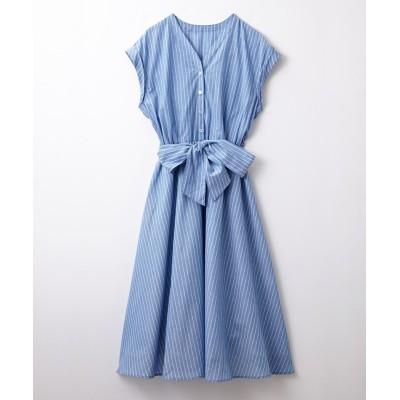 ウエストリボンロングフレアワンピース(薄手素材) (ワンピース)Dress