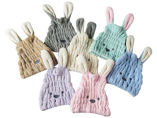 珊瑚絨長耳朵造型乾髮帽(1入) 顏色隨機出貨【D021881】