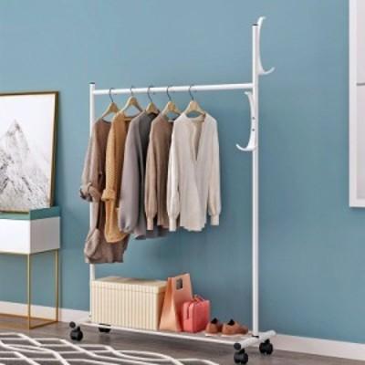 ハンガーラック チェスト 白 衣類収納 コート掛け 洋服スタンド 棚付き 大容量 組み立て式 家具