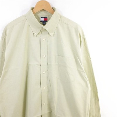 古着 大きいサイズ トミーヒルフィガー 3点留め 長袖ボタンダウンシャツ メンズ US-XL 無地 ライトグリーン系 hs-9677n