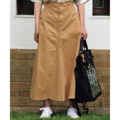スカート デニム/ツイル製品染めストレッチフレアスカート