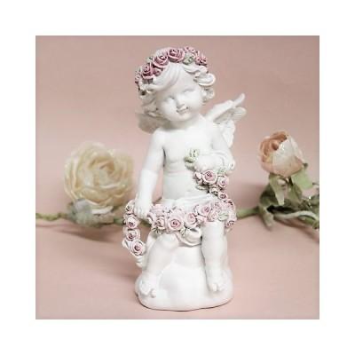 花飾りを作るエンジェルオブジェAエンゼル 天使 置物 かわいい、薔薇雑貨QSC-023A