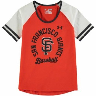 Under Armour アンダー アーマー スポーツ用品  Under Armour San Francisco Giants Girls Youth Orange/White Baseball Half-Sleeve T-S