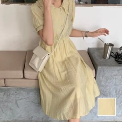 韓国 ファッション レディース ワンピース 夏 春 カジュアル naloI524  バルーンスリーブ シアー キュート Aライン シンプル コーデ 定番