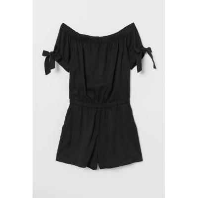 H&M - ショートオールインワン - ブラック