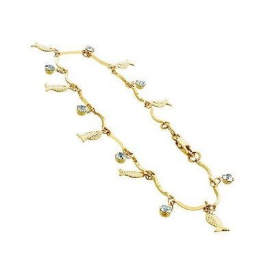 Gold Layered Clear Glass Beads with Fish Shapes 10 Inch Anklet Ankle Bracel