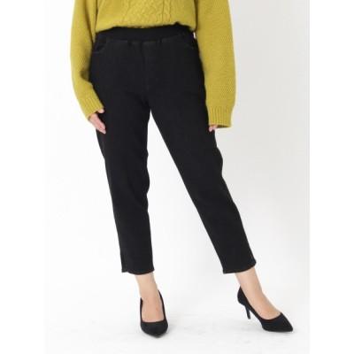 【大きいサイズ】裾フロントスリットの微起毛ストレッチ美脚デニムパンツ 大きいサイズ パンツ レディース