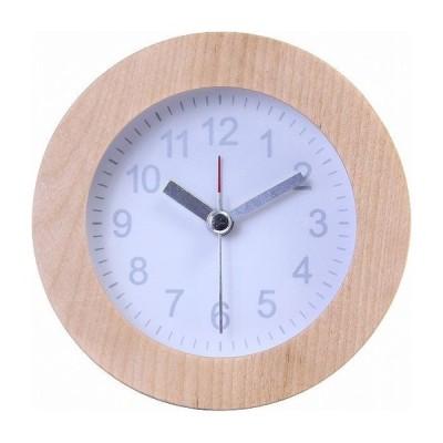置時計 ウッド ラウンド W102×D42×H102mm 天然木 ウォッチ おしゃれ ホワイト 代引不可