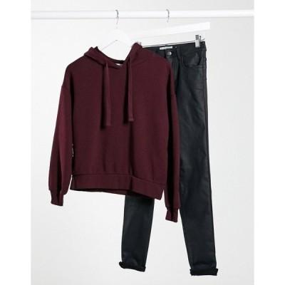 プルアンドベア レディース パーカー・スウェットシャツ アウター Pull&Bear hoodie in burgundy Burgundy