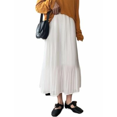 2021新しい春のハイウエストのスリムなプリーツスカートの中に長いスカートの女性の白い復古港の味A字のスカートがあります