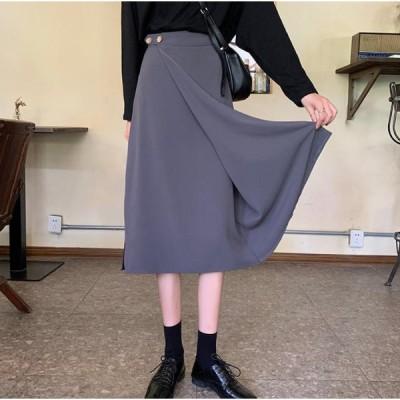 タイトスカート ひざ丈 ラップ ハイウエスト 大人可愛い きれいめ 上品 シンプル