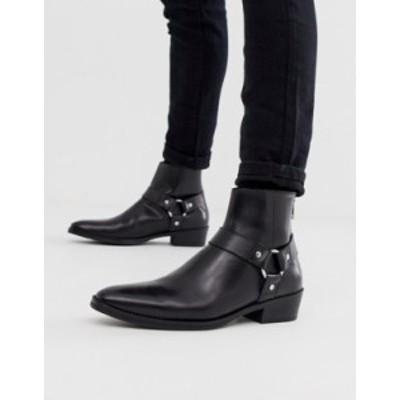 エイソス メンズ ブーツ・レインブーツ シューズ ASOS DESIGN stacked heel western chelsea boots in black leather with buckle detail