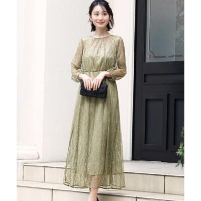 ドレス 総チュールレース ウエストゴム ワンピースドレス