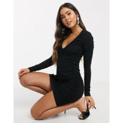 エイソス レディース ワンピース トップス ASOS DESIGN plunge long sleeve ruched mini dress Black