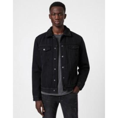 オールセインツ メンズ ジャケット・ブルゾン アウター AllSaints Alder denim jacket in black Black