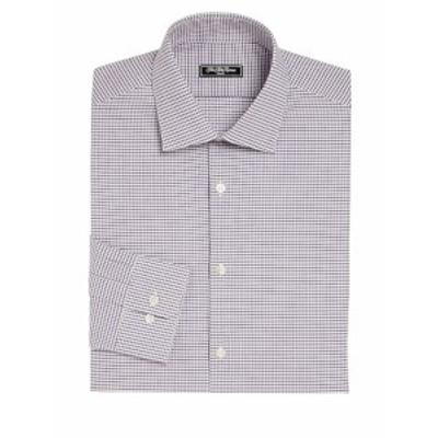 サックスフィフスアベニュー メンズ ドレスシャツ ワイシャツ MODERN Check Dress Shirt