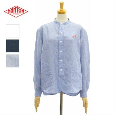 ダントン JD-3606KLS バンドカラーシャツ 長袖シャツ リネンクロス 麻素材 レディース DANTON