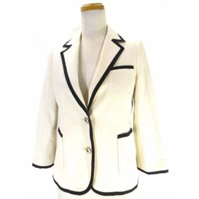 【中古】シップス SHIPS テーラード ジャケット ブレザー 七分袖 シングル 無地 S オフホワイト 白 春夏 レディース
