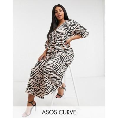 エイソス レディース ワンピース トップス ASOS DESIGN Curve jersey wrap smock textured jumpsuit in animal print