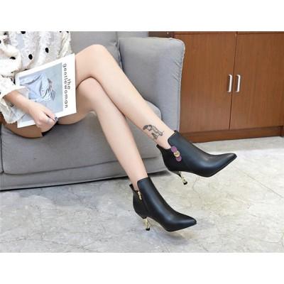 とてもファッション  韓国 ショートブーツ 女性 春 ショートブーツ ポインテッドトゥ 気質  2020  新作 スティレットハイヒール エレガント 裏起毛 ブーティー