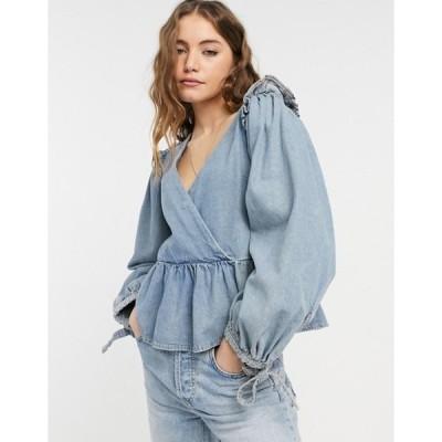 エイソス レディース シャツ トップス ASOS DESIGN soft denim peplum wrap blouse in midwash