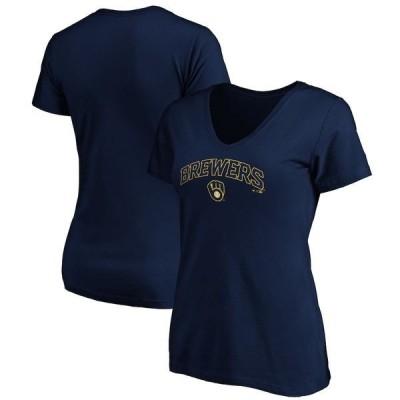 ファナティクス ブランデッド レディース Tシャツ トップス Milwaukee Brewers Fanatics Branded Women's Team Logo Lockup V-Neck T-Shirt Navy