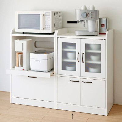 キッチン収納ミニ食器棚シリーズ キャビネット小(高さ90.5cm) ホワイト