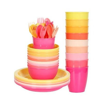 Youngever 54 pcs Plastic Kids Dinnerware Set of 9 in 9 Peach Colors, Toddle