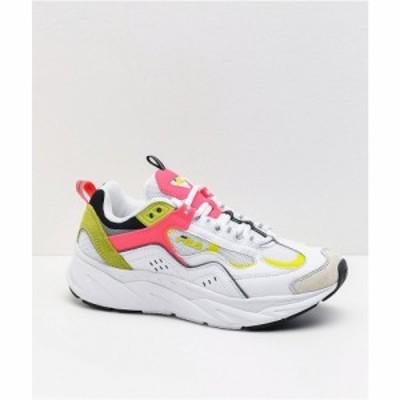 フィラ FILA レディース スニーカー シューズ・靴 trigate plus white and safety yellow shoes White