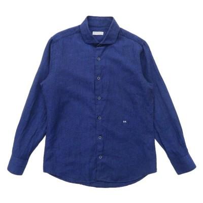 リネンシャツ 長袖 ブルー サイズ表記:--