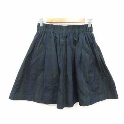 【中古】レディラックルカ LADY LUCK LUCA フレアスカート ひざ丈 チェック 36 緑 グリーン /KB レディース